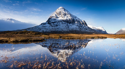 Stob Coire Raineach reflected in Lochan na folla, Glencoe (stitched panorama)