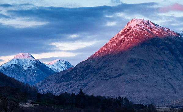 Sunset, Glen Etive - sun hitting Stob na Broige