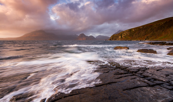 Sun setting at the sluice, Elgol, Isle of Skye.
