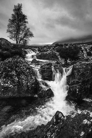 Etive Mor Waterfall; B&W