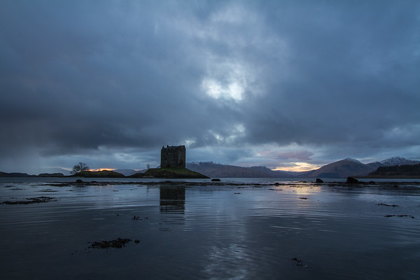 Castle Stalker at dusk, Glencoe.