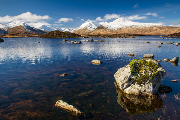 View across Lochan na h-Achlaise with Meall Mor and Meall Beag;