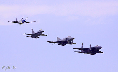 A P-51 from Late WWII, an F-16, an F-4 Phantom (Viet Nam Era to current) and an F-15 - Incredible Display!