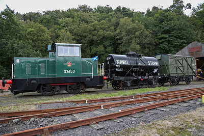 Former Rosyth Dock Yard Hunslet shunter works No 9045 of 1980 carrying fictitious number D2650.  Part of the Lathalmond Railway Museum.