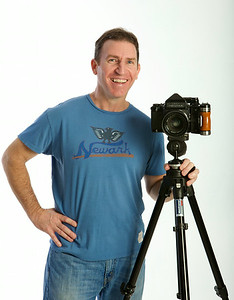 Sean  with giant Pentax 6X7 film camera,. May 2013.Photo credit-Kevin Smith