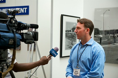 Sean Kelley being interviewed by Channel 7. Arlington Cemetery Women's Memorial. Arlington, VA. August 2012