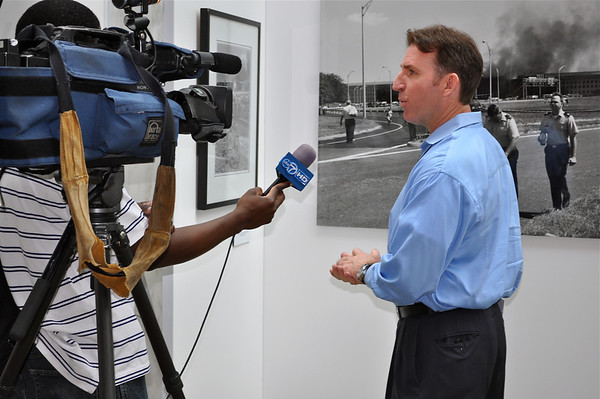 Sean Kelley interviewed by local Channel 7 at 9/11 Exhibit.Arlington,Virginia.2012
