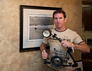 Sean Kelley with Ikelite underwater rig. Fairfax, Virginia. 2011