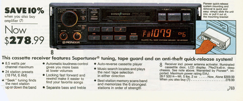 """Who needs an iPod when for just $278 you can get a cassette player with an """"Anti Theft Quick Release System""""?"""
