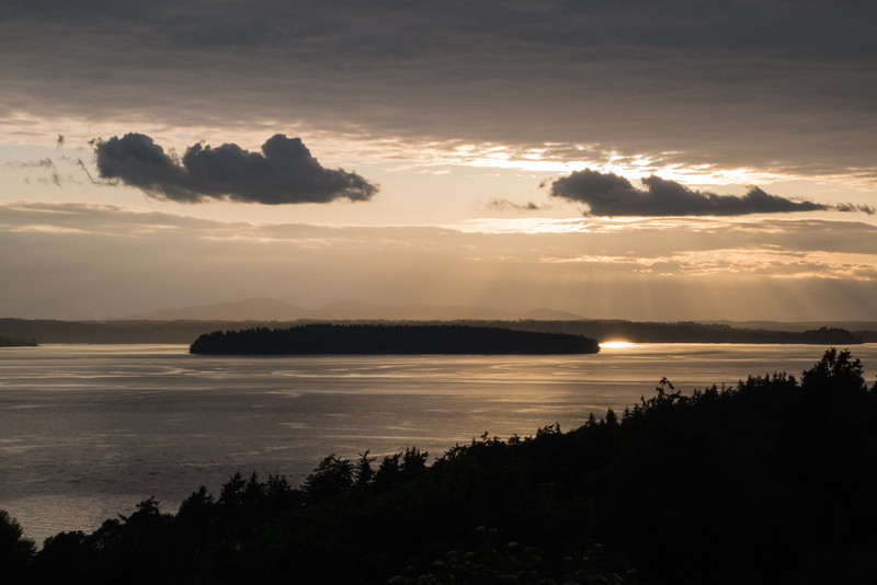 Sunset view from the deck of our West Seattle rental, April, 2016. Real color.