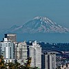 A closer look at Mt. Rainier looming over the city.