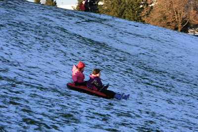 It looks so fun.  Clearly  you do not need much snow for sledding!