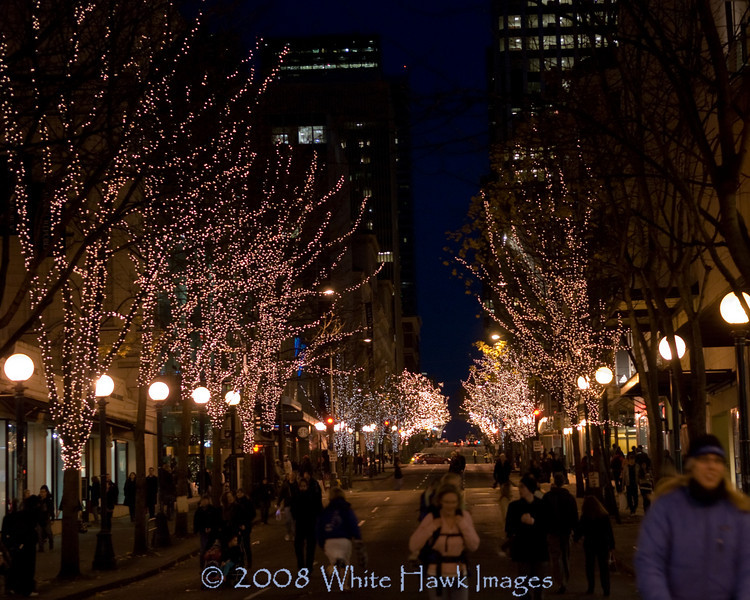 Seattle downtown street lined with Christmas lights, during Westlake Center Tree Lighting