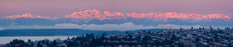 Sunrise on the Olympic Mountains 12/31/2010