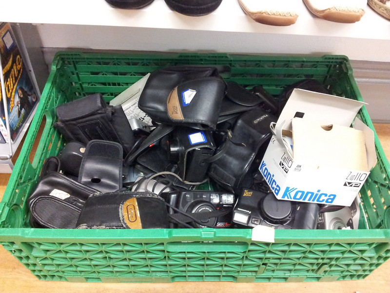 Box of Cameras in a Charity Shop
