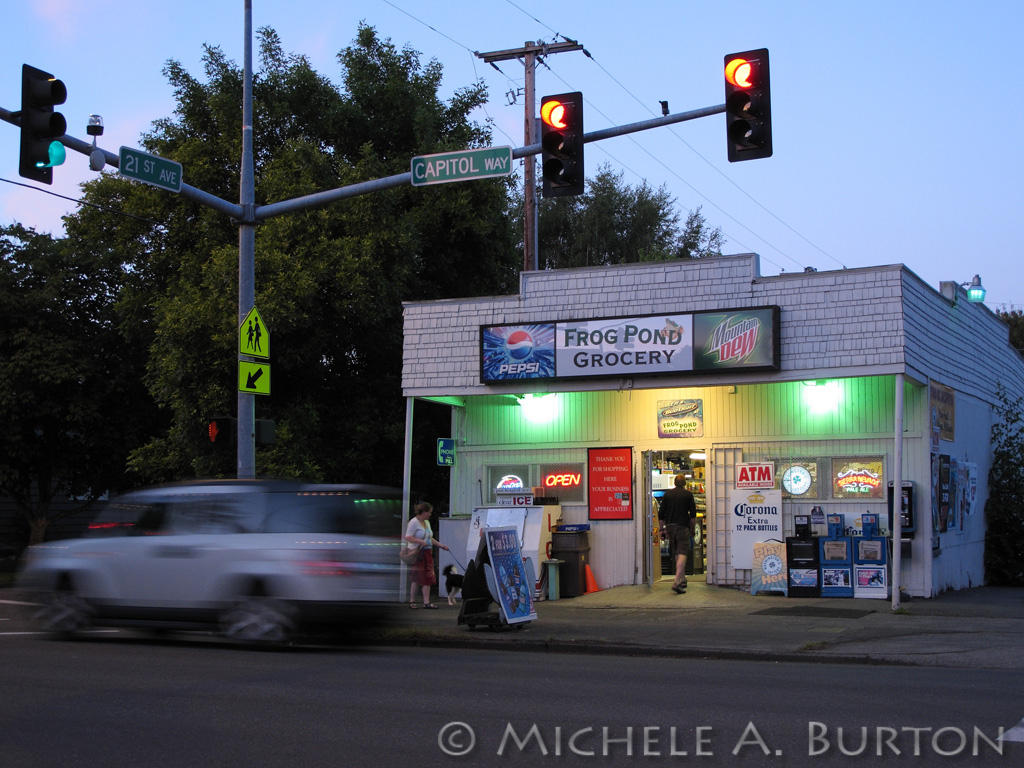 Frog Pond Grocery at dusk<br /> Olympia's South Capitol neighborhood