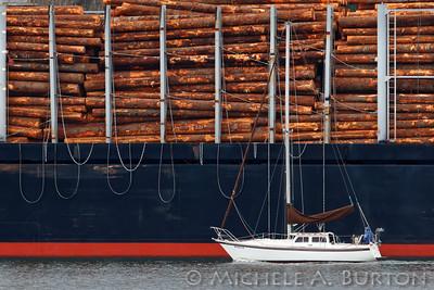 Sailboat and Log Ship  Port of Olympia Olympia, WA   February 20, 2015