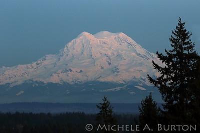 Mount Rainier just after sunset February 19, 2020