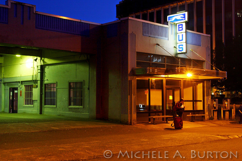 Greyhound bus station in Olympia, Washington at night