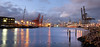 Dusk along the Duwamish Waterway at the Port of Seattle's container piers