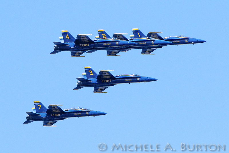 The Navy's Blue Angel flight demonstration squadron flies above the skies of Seattle, WA during the 2016 Seafair celebration