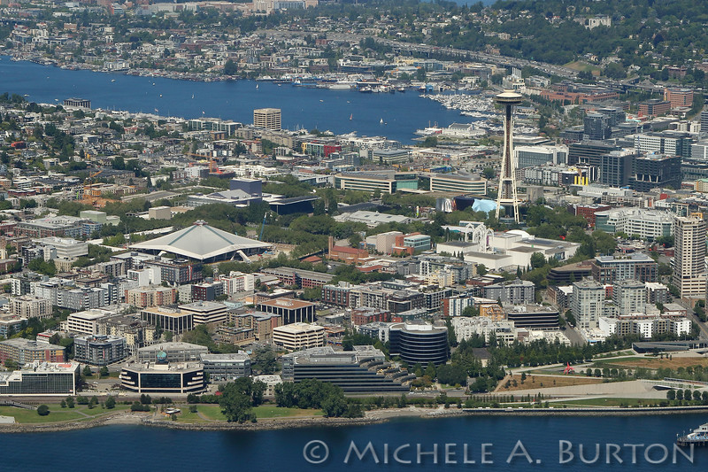 The Space Needle, Seattle Center and Lake Union as seen from the air