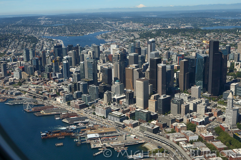 Aerial view of downtown Seattle, looking north to Lake Union, North Seattle and Mount Baker