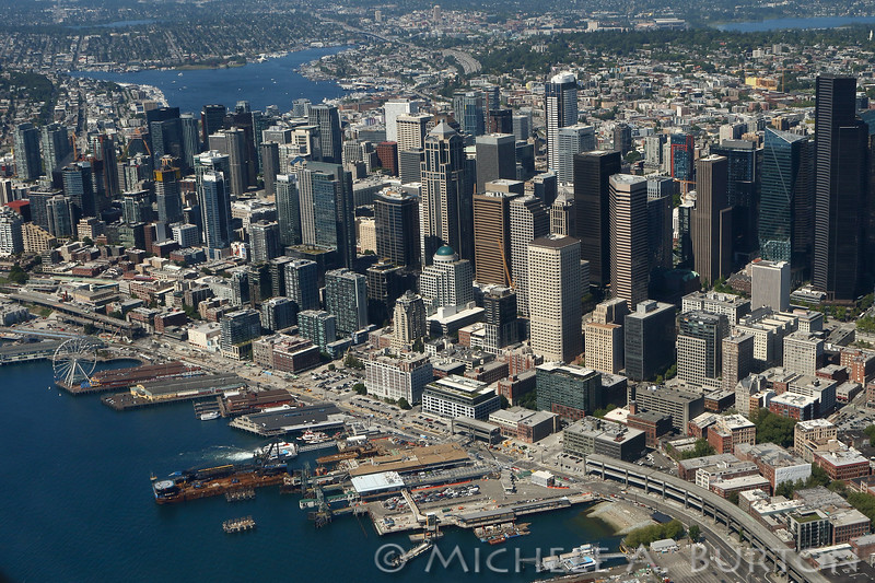 Downtown Seattle skyline, seen from the air, looking north. Note the Alaskan Way Viaduct removal in the bottom portion of the photo
