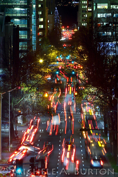 Denny Way and Stewart Street<br /> Seattle, WA<br /> <br /> Rush hour traffic - festive for the Season<br /> <br /> December 14, 2015