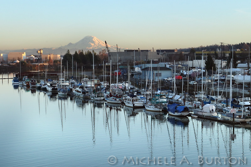 Mt Rainier and the Duwamish River at dusk<br /> Seattle, Washington<br /> February 27, 2020