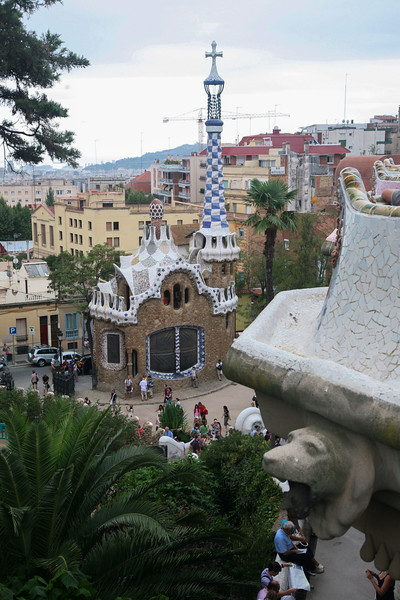 Terrace view and gate house at Park Guell, Barcelona, Spain NO