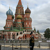 Changing of the guard and St. Basil's Cathedral, Red Square, Moscow, Russia