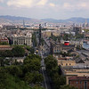 Aerial view from Montjuic, Barcelona, Spain NO