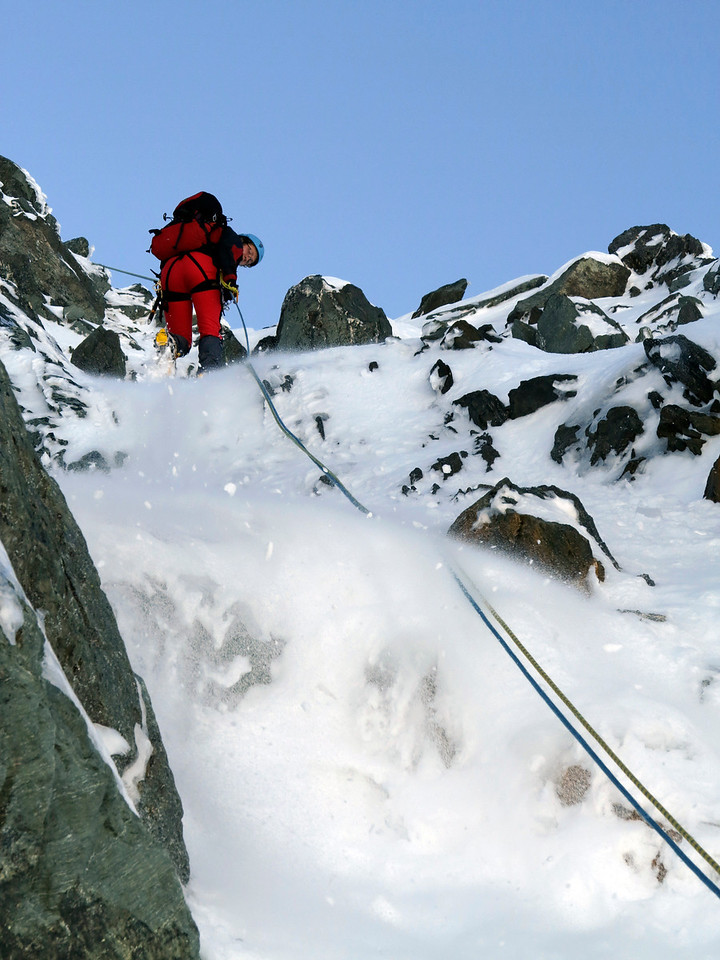 Abseiling the face
