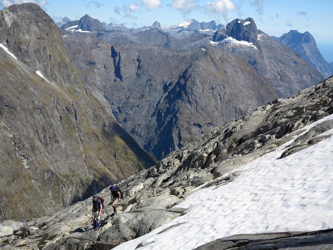 Climbers below Barrier Knob