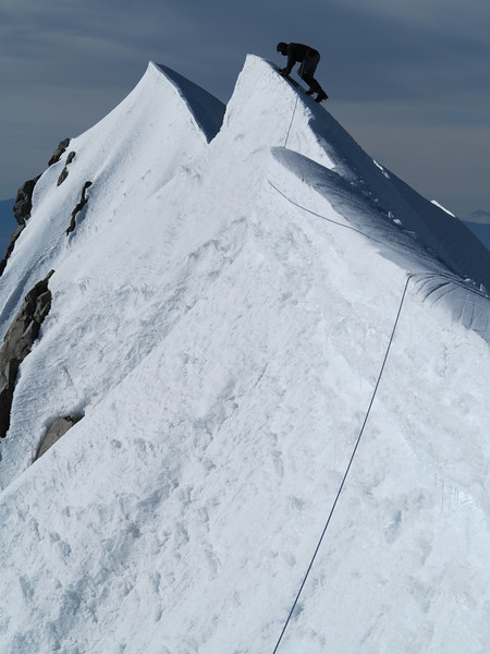 James on the summit of Aoraki Mt Cook - a scary pitch across bulletproof rime ice