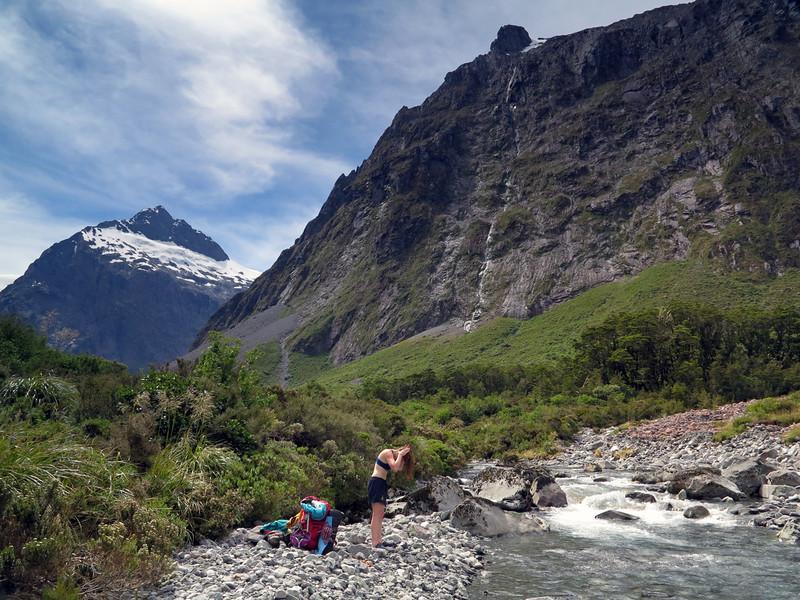 Tiff washes in the Hollyford after reaching the car - a great way to end the trip!