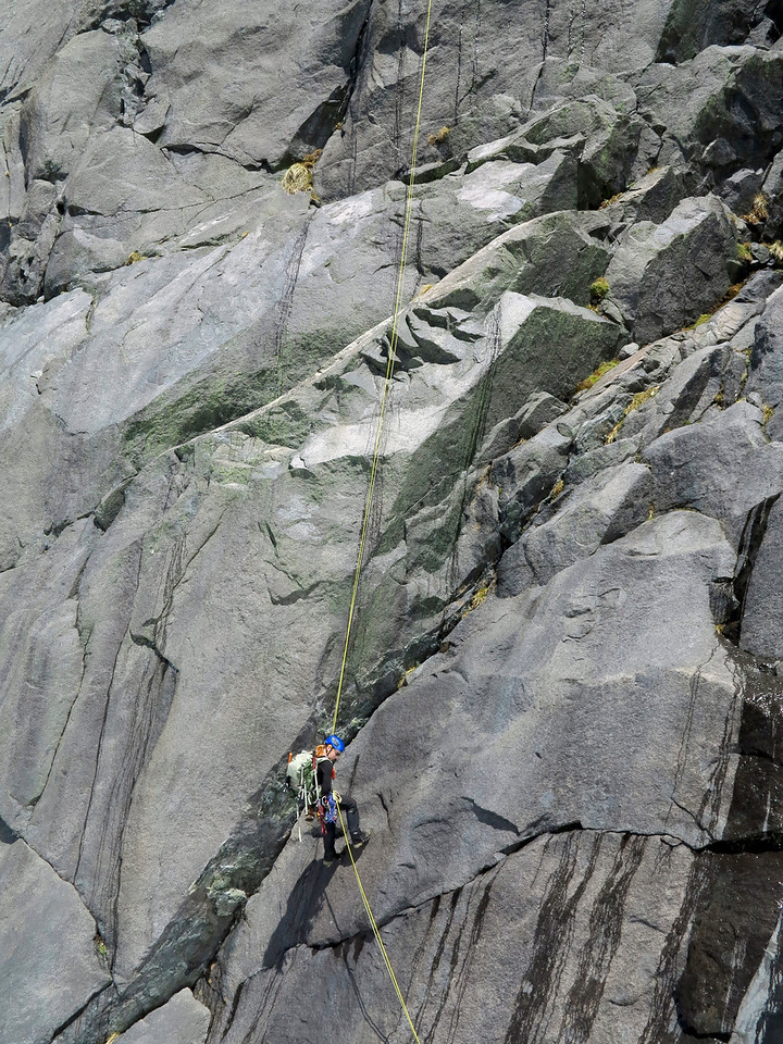 A rather scary abseil off Talbot's east ridge