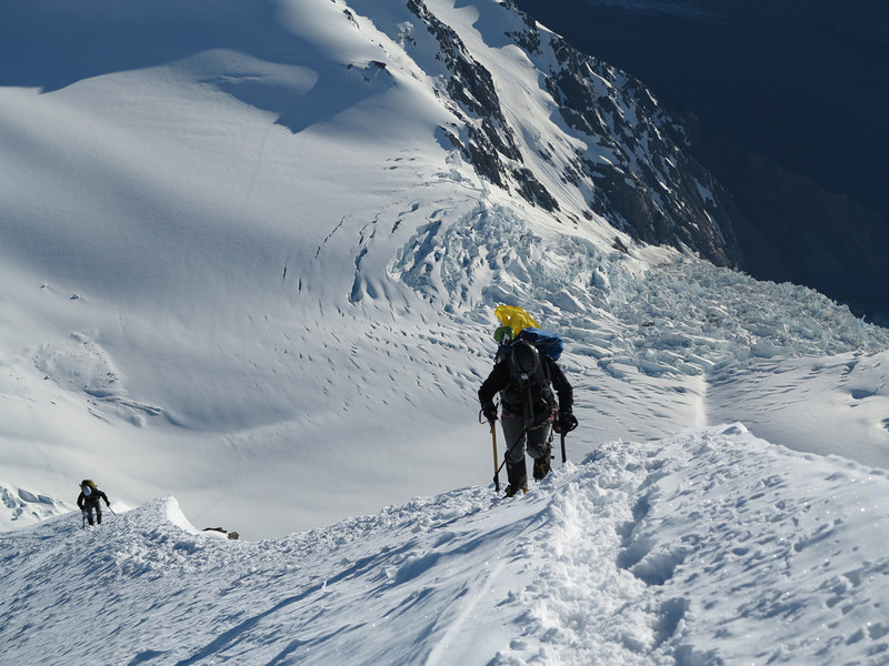 James and Nina above the last hard step of snow, Hotchstetter Icefall below