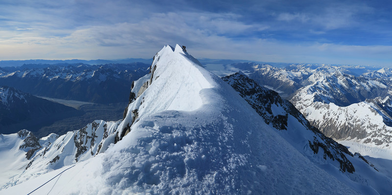 The top of New Zealand - James on the summit of Aoraki Mt Cook