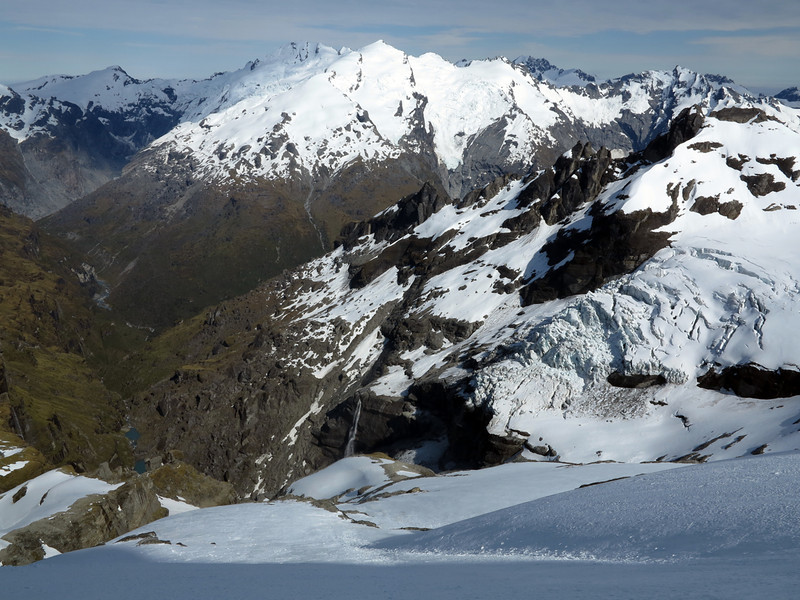 Climax and Destiny Peaks in the distance, Victoria Icefall and Victor Creek in the foreground