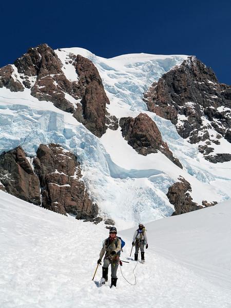 Nina and James descend the Linda, Linda Shelf, Summit Rocks and Gunbarrels above