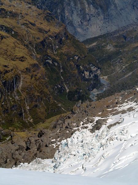 Ice seracs and rock seracs combine in Victor Creek
