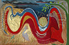 Painting on canvas, 2009. Inspired by a dream I had when I was 16. Unstretched and unframed. Aprox. 3' x 4.5'