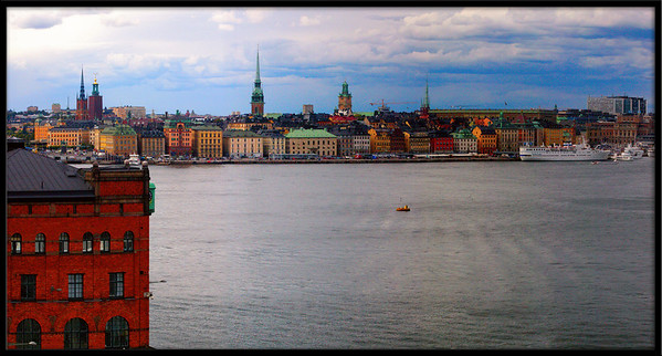 A view across part of the Balic sea towards Sweden's old city. This was 3 portrait pics stitched together to make a panorama style shot.