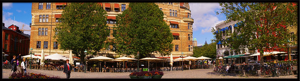 The Lillatorg in Malmo, a city square surrounded by cafes and bars. 3 hand held shots taken and stitched together for a panorama