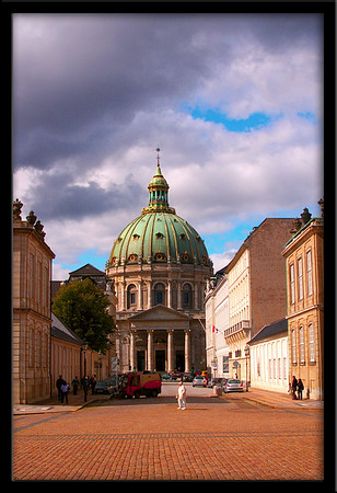The Marble Church in Copenhagen. The paving in the foreground is part of the Royal castle courtyard.