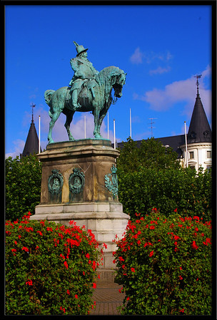 The Stortorget statue of King Karl X Gustav in Malmo.