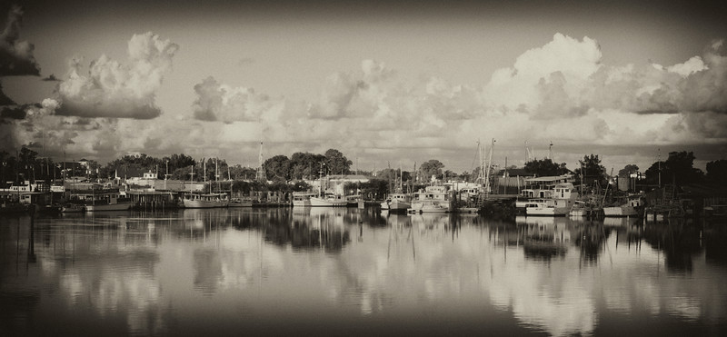 View of Anclote River as seen from the Alternate 19 Bridge. Photo developed using Silver Effects Pro software.