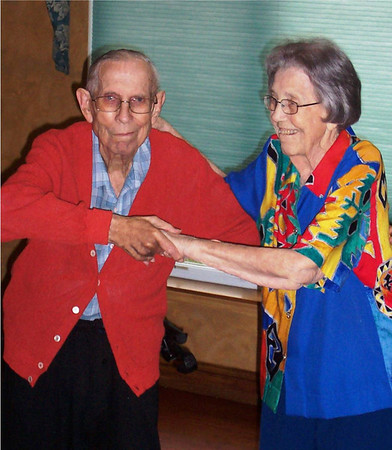 At 98 years young love is in the air for Derrill and Grace Shields as they celebrate their 74th wedding anniversary at Keystone Woods and show they still have some moves!  <br /> <br /> Photographer's Name: Jeanne Brown<br /> Photographer's City and State: Anderson, IN